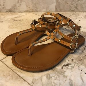 Tan studded ankle wrap sandals size 7